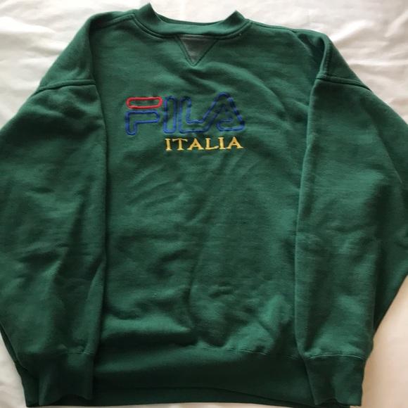 Vintage Fila Italia Crewneck Sweatshirt XL Green